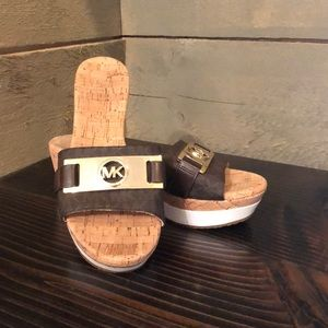 Michael Kors Platform Wedge MK insignia Sandals